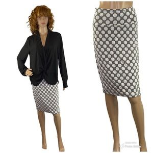 LuLaRoe Black & Silver Dots Cassie Pencil Skirt